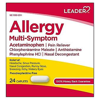 Leader allergy multi-symptom, caplets, 24 ea