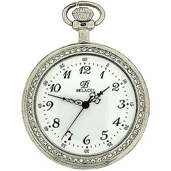 Belacci Silver Tone Stone Set Bezel, White Dial Pocket Watch & 12