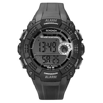 Sekonda Mens Ronde Zwart / Grijs Digitale Wijzerplaat Zwart Rubber Strap Horloge 1674