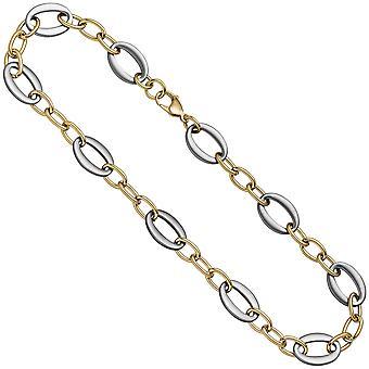 Naisten kaulakoru ruostumaton teräs kulta väri päällystetty bicolor 47 cm ketju