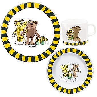 JANOSCH Kids Breakfast Set 3-osainen melamiinia lasten valjaat keltainen musta