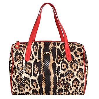 Cavalli Brown Leopard Print Red Hand Satchel Bag -- CAV1573701