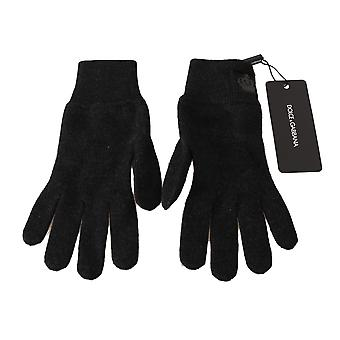 Dolce & Gabbana Gray 100% Wool Knitted Crown Logo Wrist Gloves -- LB25696048
