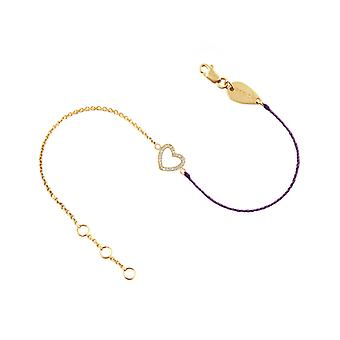 Bracelet Heart 18K Gold and Diamonds, on Half Thread Half Chain - Yellow Gold, ElectricPurple