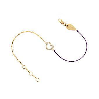 Armband Herz 18K Gold und Diamanten, auf halbfaden halbkette - Gelbgold, ElectricPurple