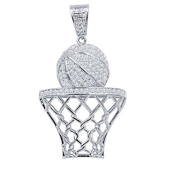 925 Sterling Silver Iced Out Pendant - Basketball Basket