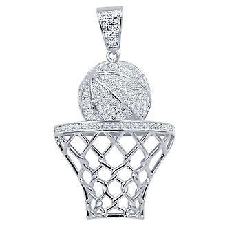 925 スターリング シルバー アイス アウト ペンダント - バスケットボール バスケット