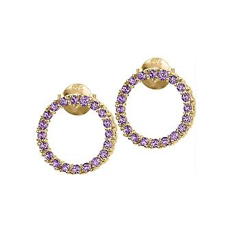 Jacques Lemans - Studs sterling silver plated with amethyst - SE-O121F