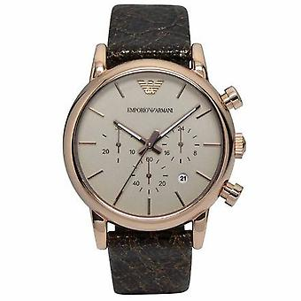 Emporio Armani AR1809 Chronograph Brown Dial Brown Leather Men's Watch