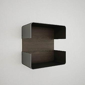 Flores Kleur Wenge plank, Zwart in Chip, Painted Metal Layer 30x17x30 cm