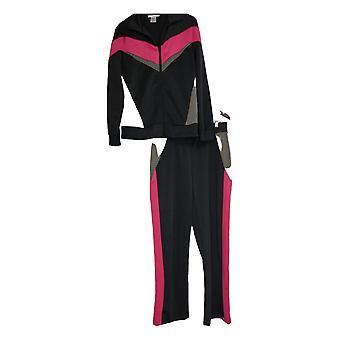 Masseys Set Frauen's Retro gestreift zip Front Track Anzug schwarz