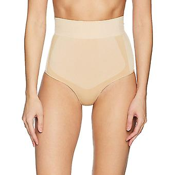 Arabella Women's Shine and Matte Seamless High Waist Shapewear Thong, Sand, X...