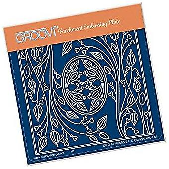 Groovi Tina's Oval Flower Parchlet A6 Square Plate
