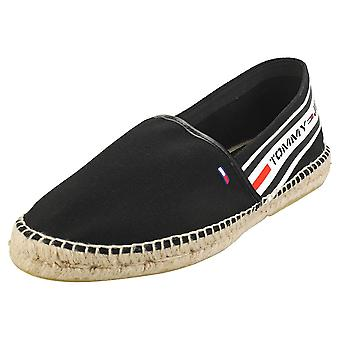 Tommy Jeans Branded Espadrille Mens Slip On Shoes in Black