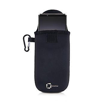 غطاء حقيبة حقيبة مبتكرات النيوبرين مع Carabiner لهاتف Sony Xperia 1 II - أسود