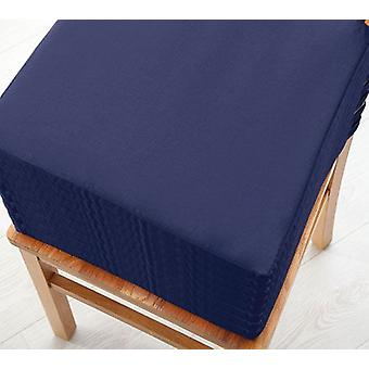 Changing Sofas Navy Blue Cotton Twill Dining Chair Seat Pad Cushion, Pack of 8