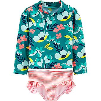 Simple Joys by Carter's Girls' 2-Piece Rashguard Set, Floral, 24 Months