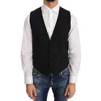 Dolce & Gabbana Black Wool Silk Vest TSH2071-1