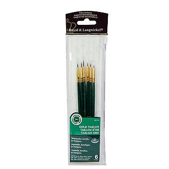 Royal & Langnickel Gold Taklon Fine Detail Paint Brush Set of 6