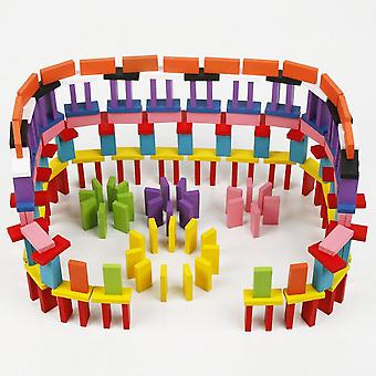 100/200/300/500 Pcs Wooden Rainbow Domino Building Blocks Toys For Children