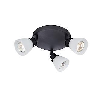 3 Light Indoor Ceiling Cluster Spotlight Lamp Black, GU10