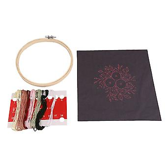 Embroidery Kit with 15x15cm Bamboo Hoop Stamped