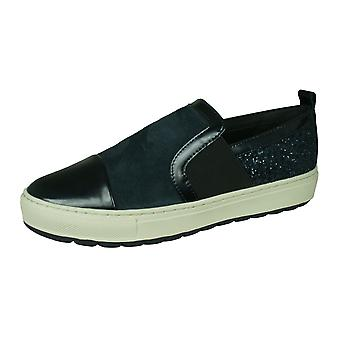 Geox D Breeda A Leather and Glitter Casual Shoes - Dark Navy