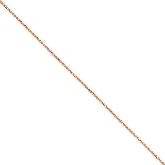 14K Rose Gold Solid Gepolijst Sparkle Cut Lobster Claw Sluiting 1.7mm Ropa Chain enkelband sieraden cadeaus voor vrouwen -
