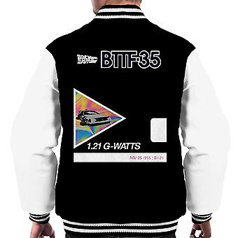 Back to the Future 35th Anniversary Psychedelic Marble Design Men's Varsity Jacket