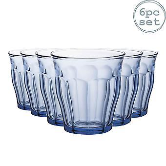 Duralex Picardie Drinkglazen - 250ml Tuimelaars voor water, sap - Blauw - Pakje van 6