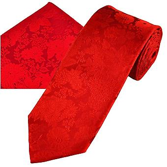 Ties Planet Gold Label Red Self Flower Patterned Men's Silk Tie & Pocket Square Handkerchief Set