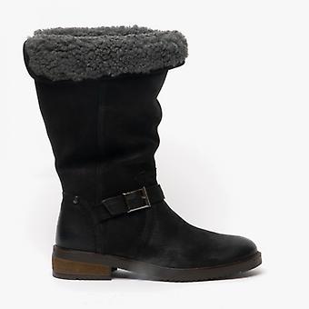 الصمت الجراء بوني السيدات الجلود الأحذية متوسطة الارتفاع الأسود