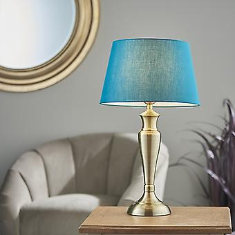 Endon Lighting Oslo & Evie - Table Lamp Antique Brass Plate & Green Cotton 1 Light IP20 - E27