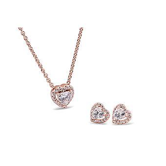 PANDORA Rose Šumivé zvýšené srdce šperky Dárková sada - 45 cm - 17,7 palců