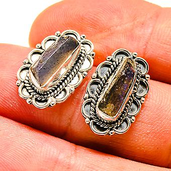 "Rough Labradorite Earrings 3/4"" (925 Sterling Silver)  - Handmade Boho Vintage Jewelry EARR408068"