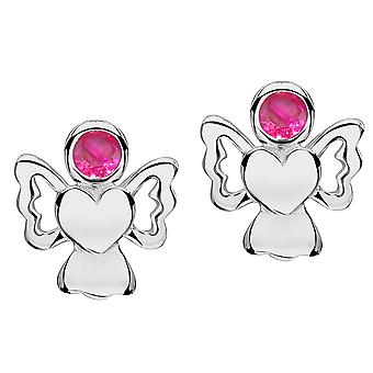 Jo For Girls Sterling Silver July Simulated Birthstone Angel Stud Earrings