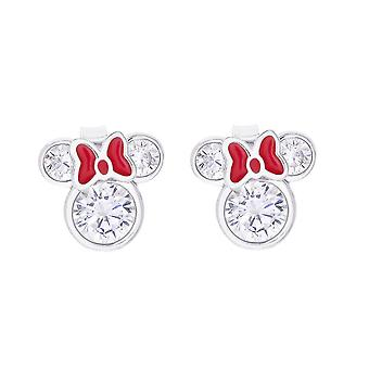 Minnie Mouse Red Bow Clear Stone Sterling Silver Stud Earrings