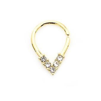 טבעת גזרה בצורת אגס עם 5 cz עם עיטורי עיצוב למחיצה, סחוס, טרגוס