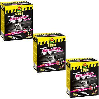 Sparset: 3 x COMPO Cumarax® mice bait cereal, 80 g + 1 bait box