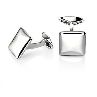 Fred Bennett Sterling Silver Mens Square Cufflink with Rounded Profile