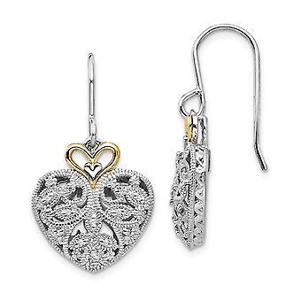 925 Sterling Silver Textured Gepolijste Prong set Shepherd haak met 14k 1/8ct. Diamond Vintage oorbellen sieraden geschenken voor