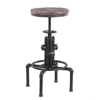 Metal Bar Stool Modern Height Adjustable Swivel Pinewood Top Kitchen Dining Bar