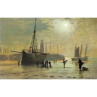 The Lighthouse at Scarborough Poster Print by  John Grimshaw Atkinson