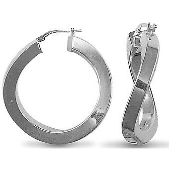 Jewelco London Sterling Silver Square Tubo Curved Hoop Orecchini