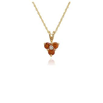 Floral Round Citrine & Diamond Pendant Necklace in 9ct Yellow Gold 181P0014259