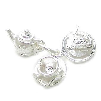 Théière Tasse de thé Assiette avec gâteau Sterling Silver Charme .925 X1 Tasse de thé Charmes - 4702