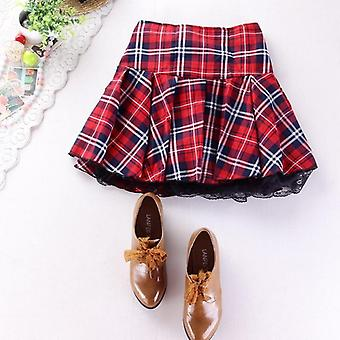 Preppy Style Uniform Skirt, Red Plaid, Lace Hem With Lining Elastic, Waist