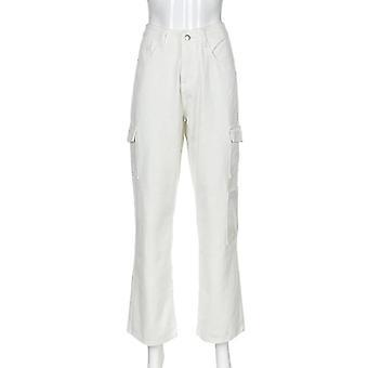 Pocket Women's Jeans, High Waist Vintage Straight Pants