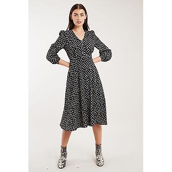 Louche Calandra Marguerite Print Long Sleeve Midi Dress