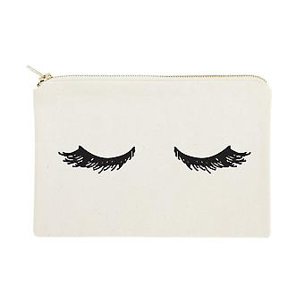 Closed Eyelashes- Cotton Canvas Cosmetic Bag